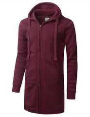 BURGUNDY Zip Down Long Fleece Hoodie Jacket - URBANCREWS