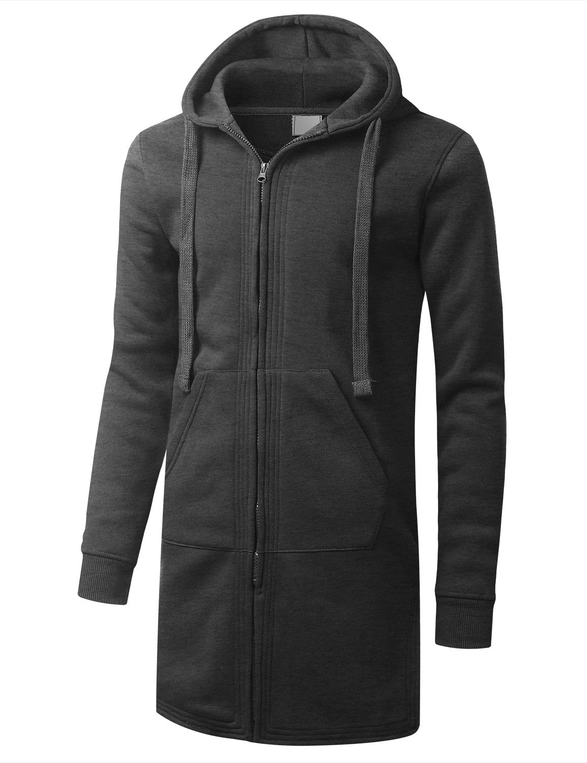 CHARCOAL Zip Down Long Fleece Hoodie Jacket - URBANCREWS