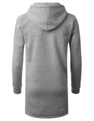 GRAY Zip Down Long Fleece Hoodie Jacket - URBANCREWS