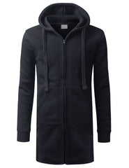 NAVY Zip Down Long Fleece Hoodie Jacket - URBANCREWS