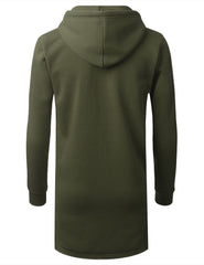 OLIVE Zip Down Long Fleece Hoodie Jacket - URBANCREWS