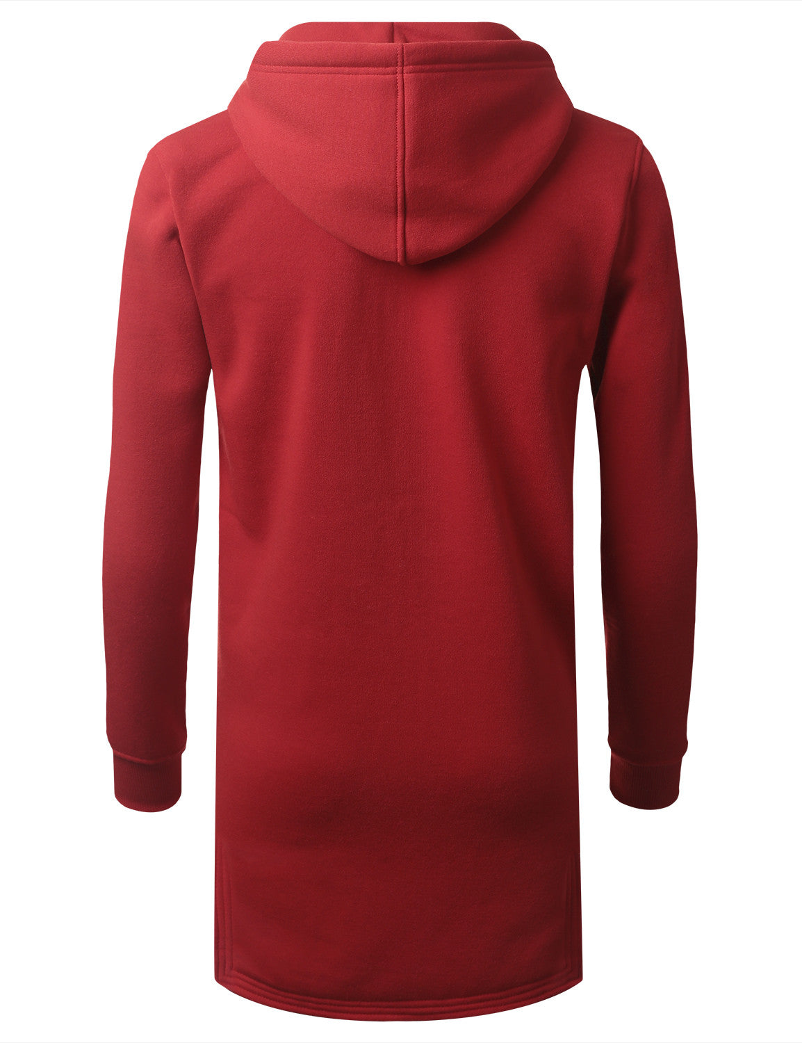 RED Zip Down Long Fleece Hoodie Jacket - URBANCREWS