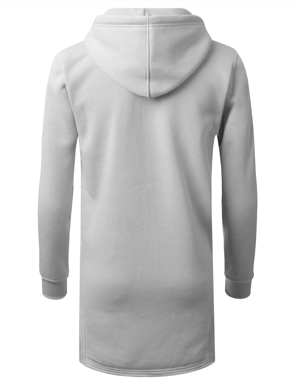 WHITE Zip Down Long Fleece Hoodie Jacket - URBANCREWS
