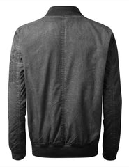 BLACK Oil Wash Bomber Jacket - URBANCREWS