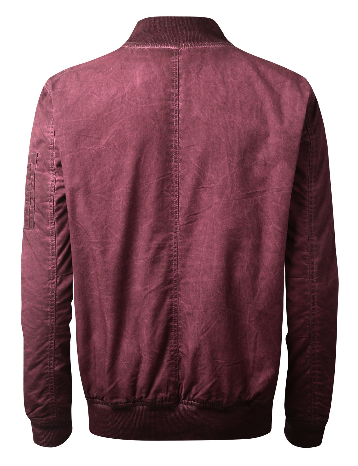 BURGUNDY Oil Wash Bomber Jacket - URBANCREWS