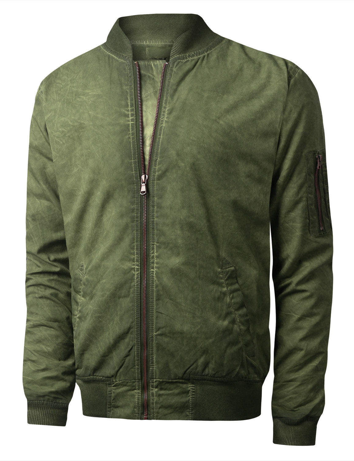 OLIVE Oil Wash Bomber Jacket - URBANCREWS