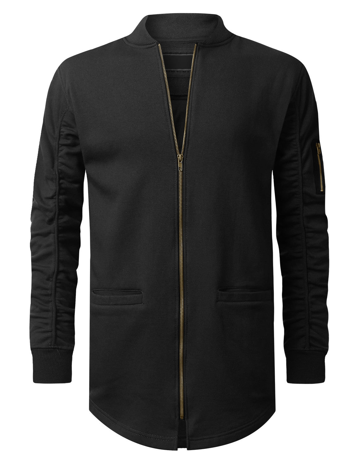 BLACK Basic Bomber Trimmed Long Jacket - URBANCREWS