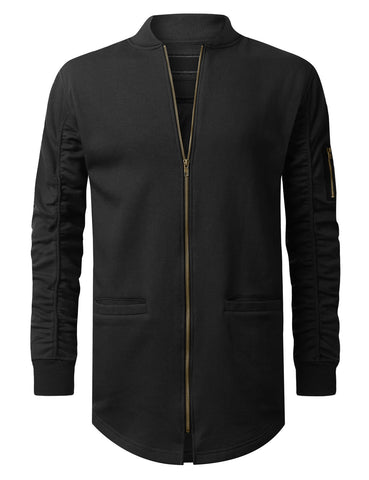 Basic Bomber Trimmed Long Jacket
