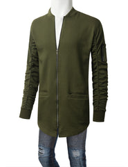 OLIVE Basic Bomber Trimmed Long Jacket - URBANCREWS