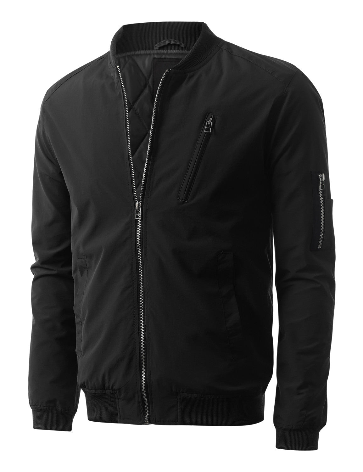 BLACK Padded Woven Zip Up Bomber Jacket - URBANCREWS