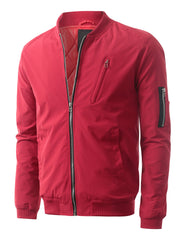 RED Padded Woven Zip Up Bomber Jacket - URBANCREWS