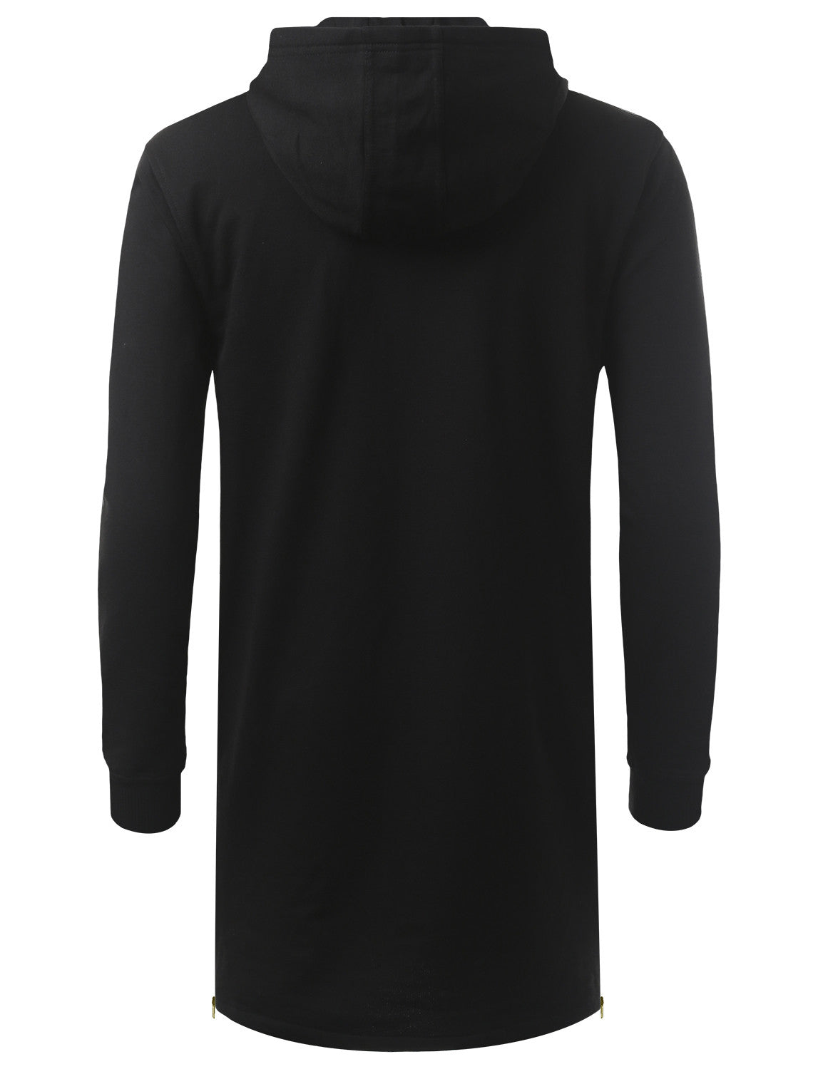 BLACK French Terry Longline Hoodie Jacket - URBANCREWS