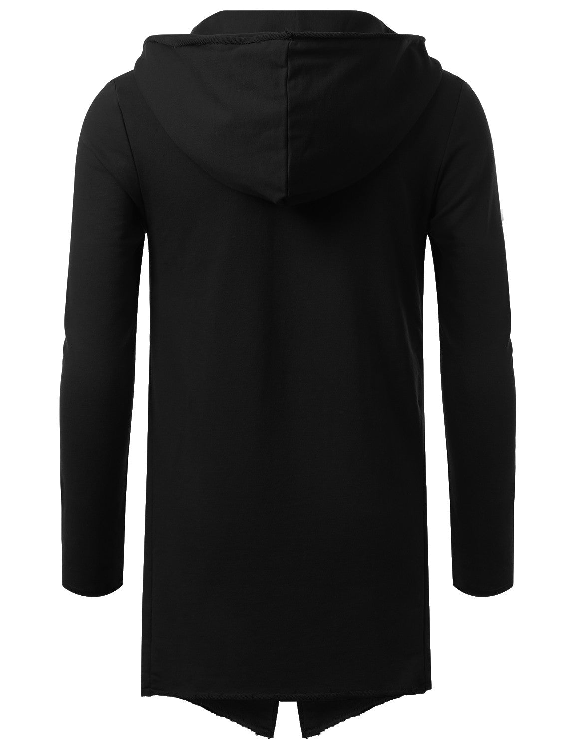 BLACK French Terry Hooded Cardigan Cape - URBANCREWS