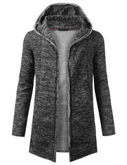 BLACK Marled Open Front Hooded Cardigan - URBANCREWS
