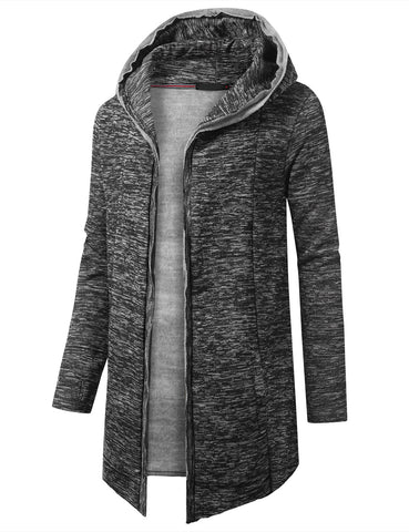 Marled Open Front Hooded Cardigan