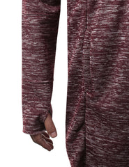 BURGUNDY Marled Open Front Hooded Cardigan - URBANCREWS