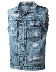 LTINDIGO Distressed Denim Vest Jean Jacket - URBANCREWS