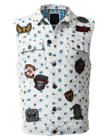 Patched Star Shaped Hole Denim Vest