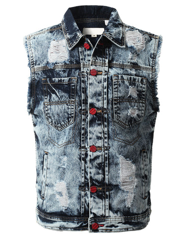 Ripped Washed Denim Sleeveless Vest
