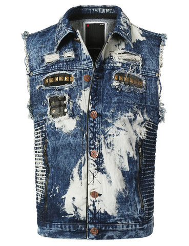 Washed Biker Denim Vest Jean Jacket