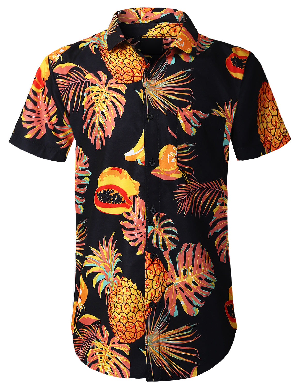BLACK Allover Fruits Printed Button Shirts - URBANCREWS