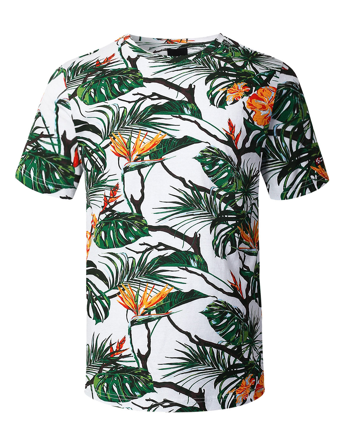 OLIVE Tropical Allover Print T-shirt - URBANCREWS