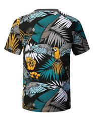 BLACK Tropical Parrot Print T-shirt - URBANCREWS