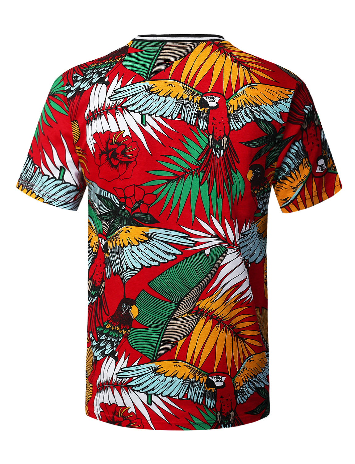 RED Tropical Parrot Print T-shirt - URBANCREWS