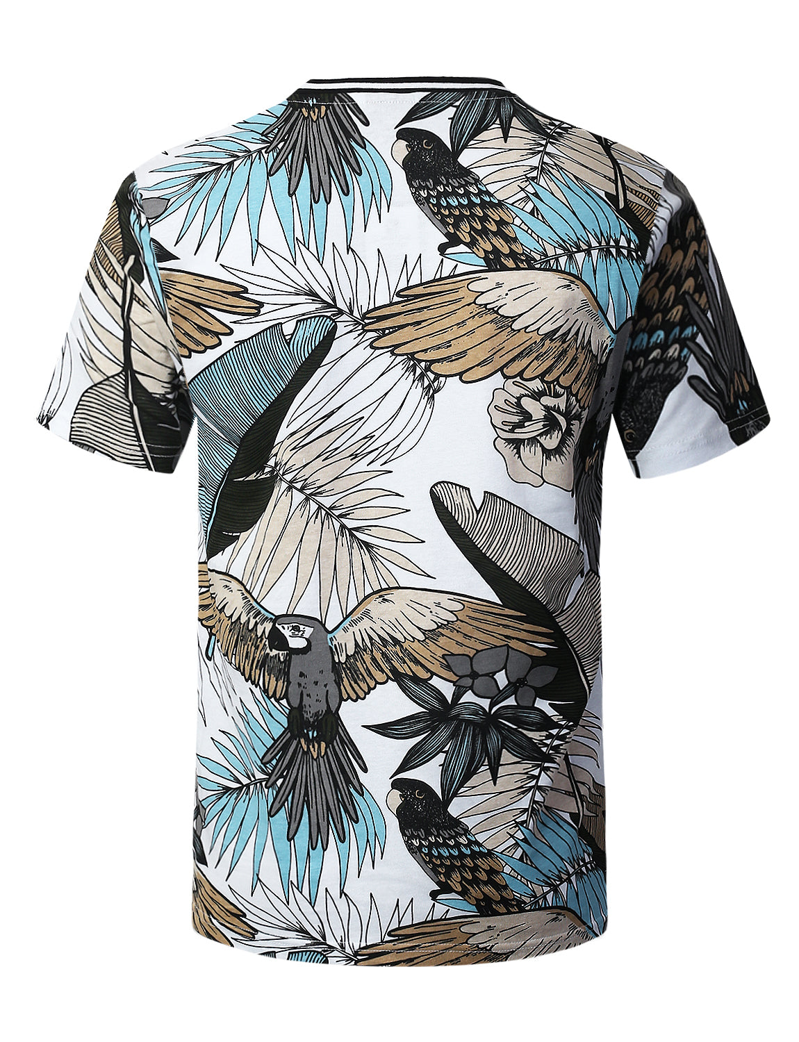 WHITE Tropical Parrot Print T-shirt - URBANCREWS