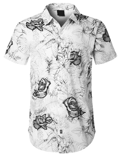 Flower Printed Short Sleeve Shirt