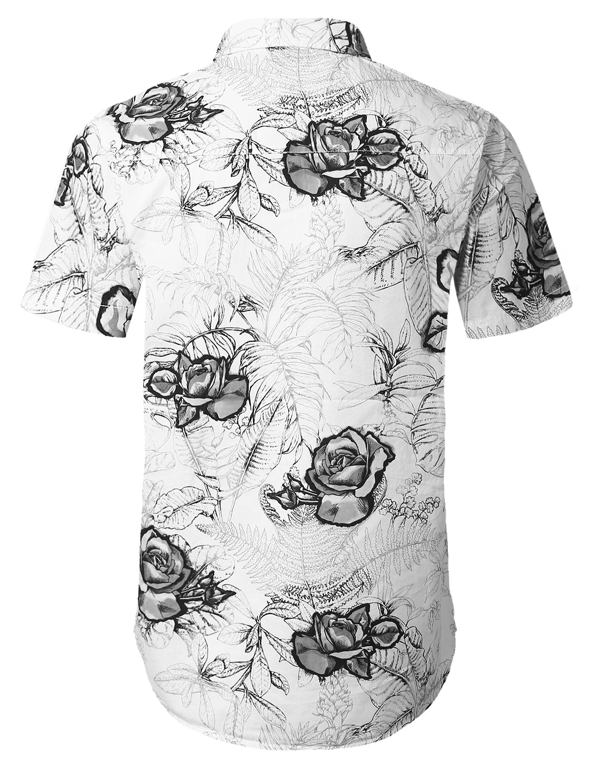 BLACK Flower Printed Short Sleeve Shirt - URBANCREWS