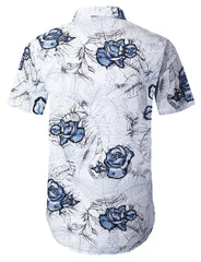 NAVY Flower Printed Short Sleeve Shirt - URBANCREWS
