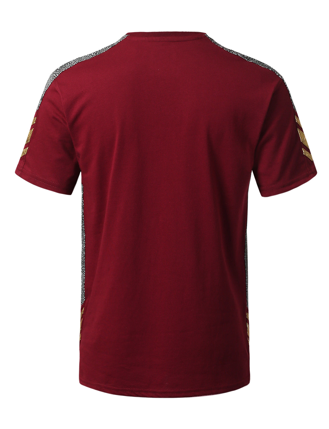 BURGUNDY Color Block Side Taping T-shirt - URBANCREWS