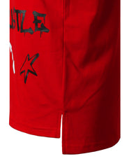 RED Graffiti Patched Longline T-shirt - URBANCREWS