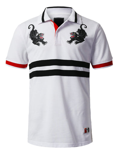 Panther Embroidery Polo T-shirt