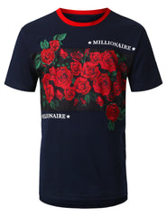 NAVY Rose Panel Embroidery T-shirt - URBANCREWS