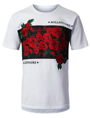 WHITE Rose Panel Embroidery T-shirt - URBANCREWS