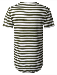 DKOLIVE Crewneck Striped Longline T-shirt - URBANCREWS