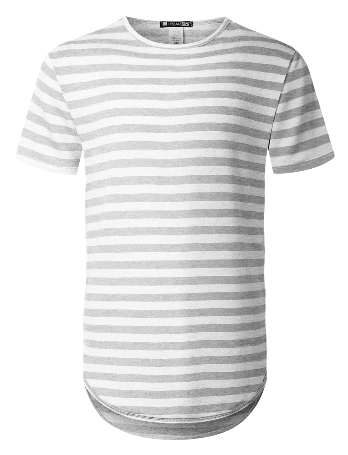 HGRAY Crewneck Striped Longline T-shirt - URBANCREWS