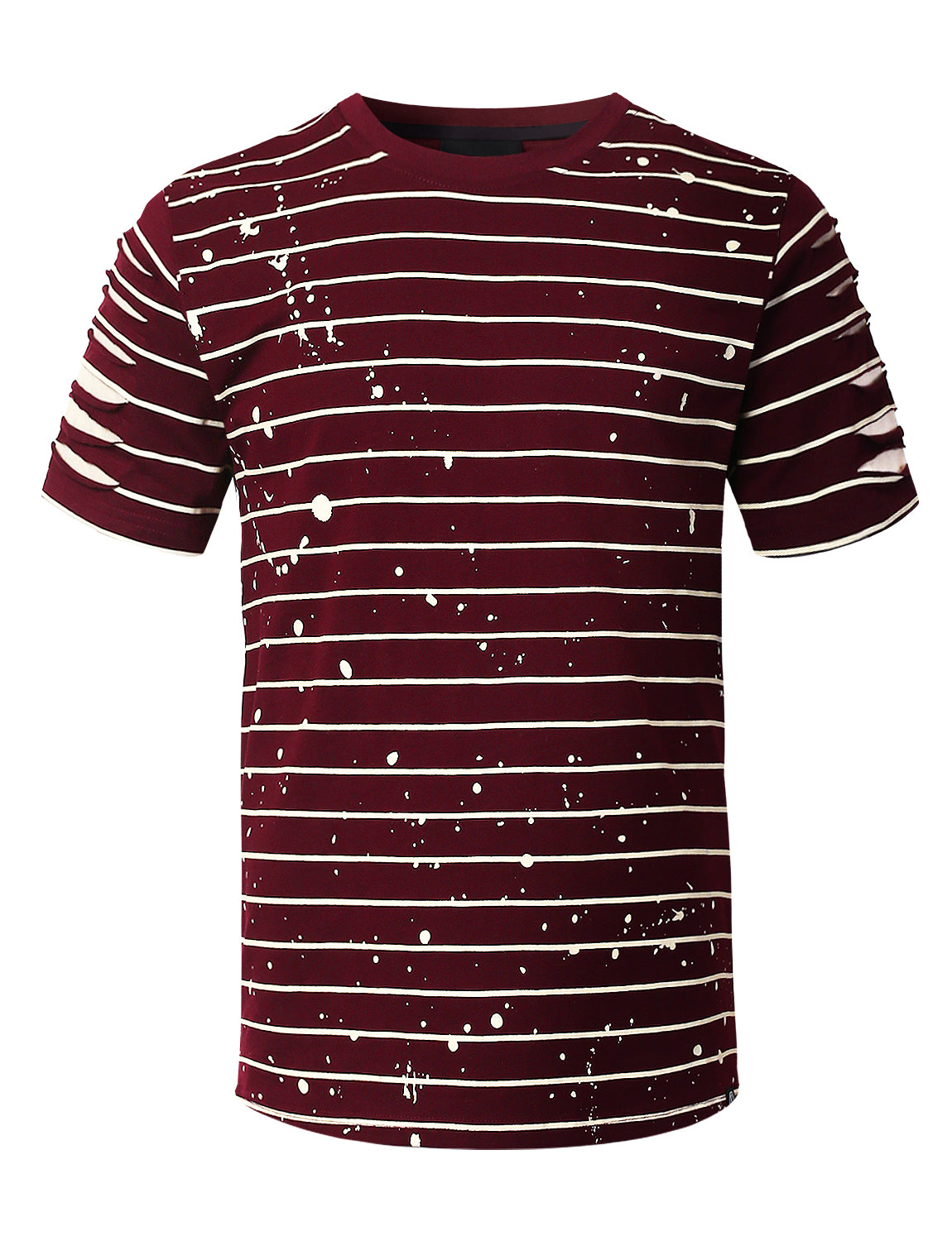 BURGUNDY Splatter Striped T-shirt - URBANCREWS