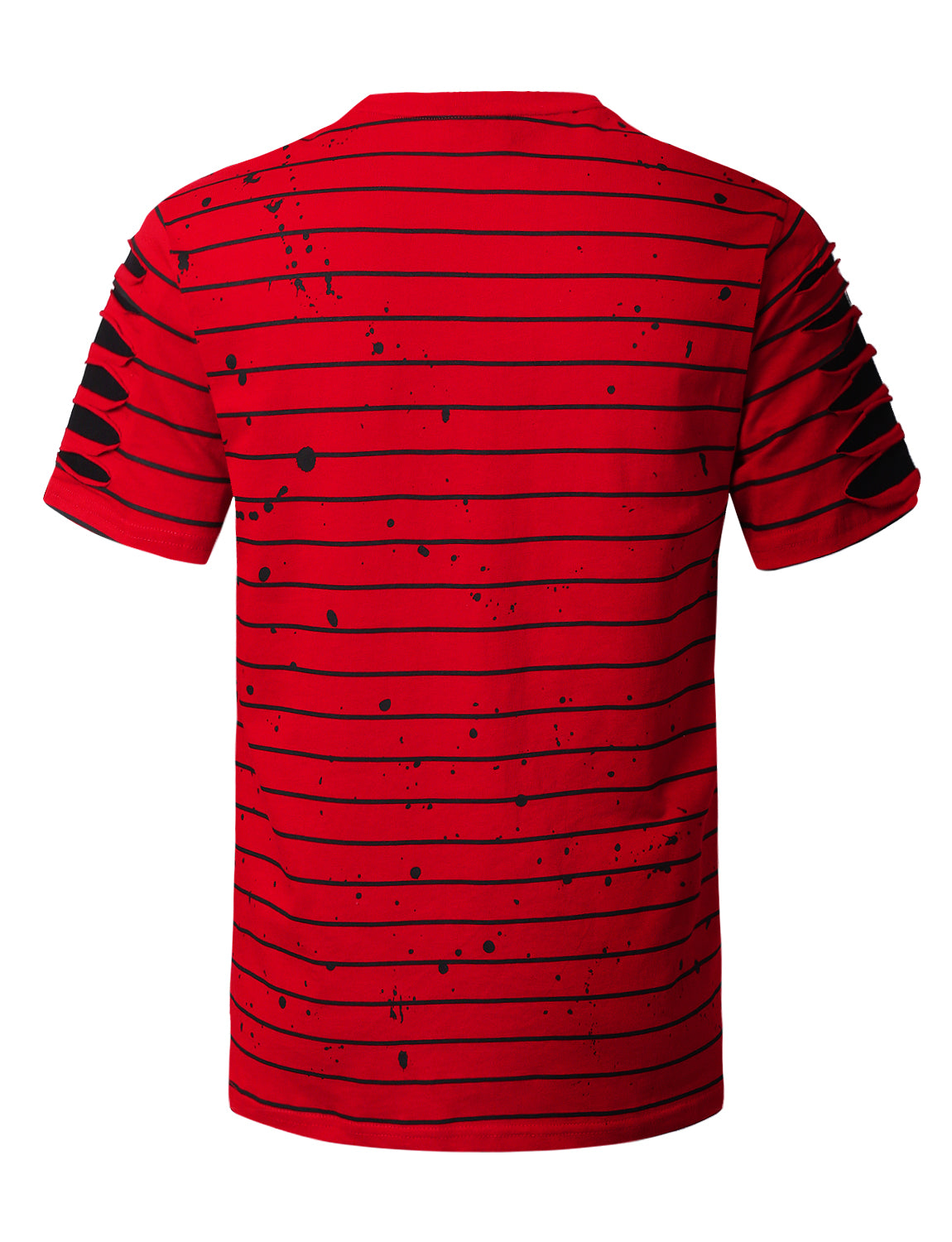 RED Splatter Striped T-shirt - URBANCREWS