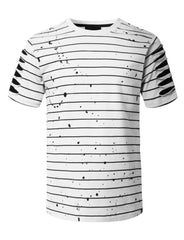 WHITE Splatter Striped T-shirt - URBANCREWS