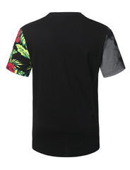 BLACK Floral Colorblock Longline T-shirt - URBANCREWS