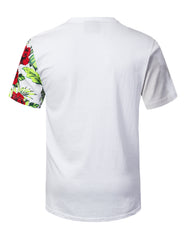 WHITE Floral Colorblock Longline T-shirt - URBANCREWS