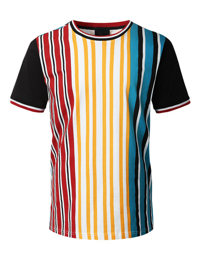 Vertical Striped Knit T-shirt MULTICOLOR