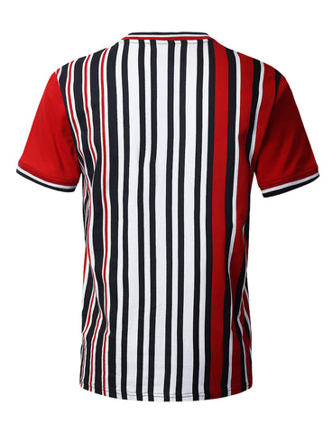 Vertical Striped Knit T-shirt RED