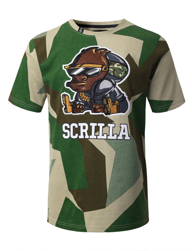 "Mens Hipster Hip Hop ""SCRILLA"" Embroidery Patched CAMO T-Shirts (GREEN)"