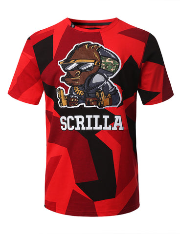 "Mens Hipster Hip Hop ""SCRILLA"" Embroidery Patched CAMO T-Shirts (RED)"