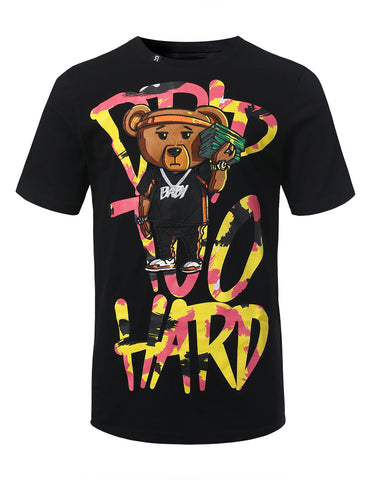 "Mens Hipster Hip Hop ""DRIP TOO HARD"" Bear Embroidery Patched T-Shirts (BLACK)"