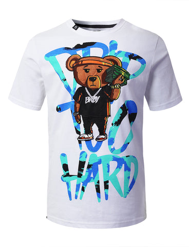 "Mens Hipster Hip Hop ""DRIP TOO HARD"" Bear Embroidery Patched T-Shirts (WHITE)"
